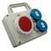 Tablou organizare de  santier 1x priza industriala : 5x16A IP67 400V 2 x prize industriale : schuko 16A IP67 250V